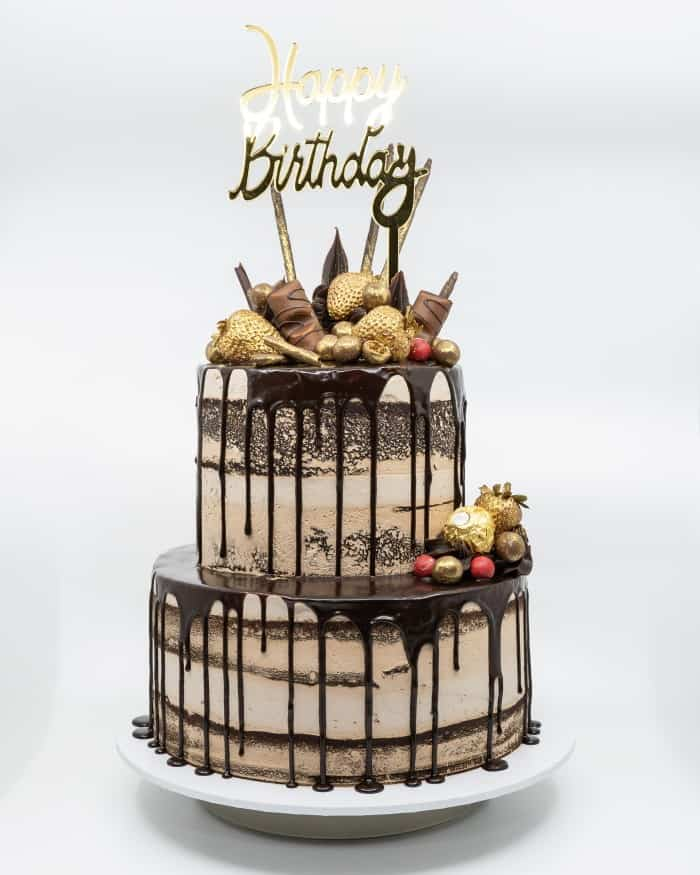 2 tier semi naked chocolate buttercake