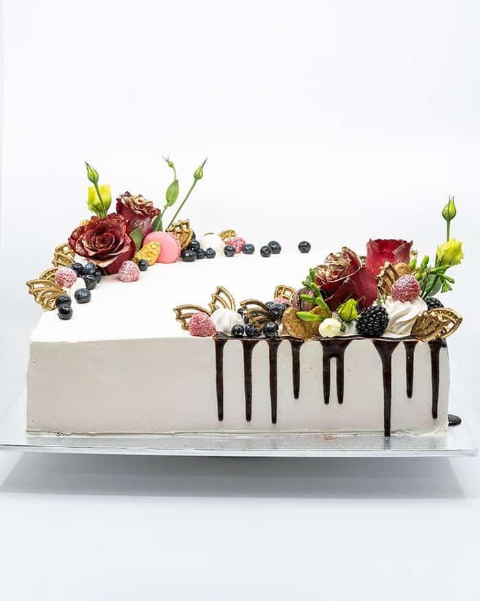 Rectangle cake with chocolate drip
