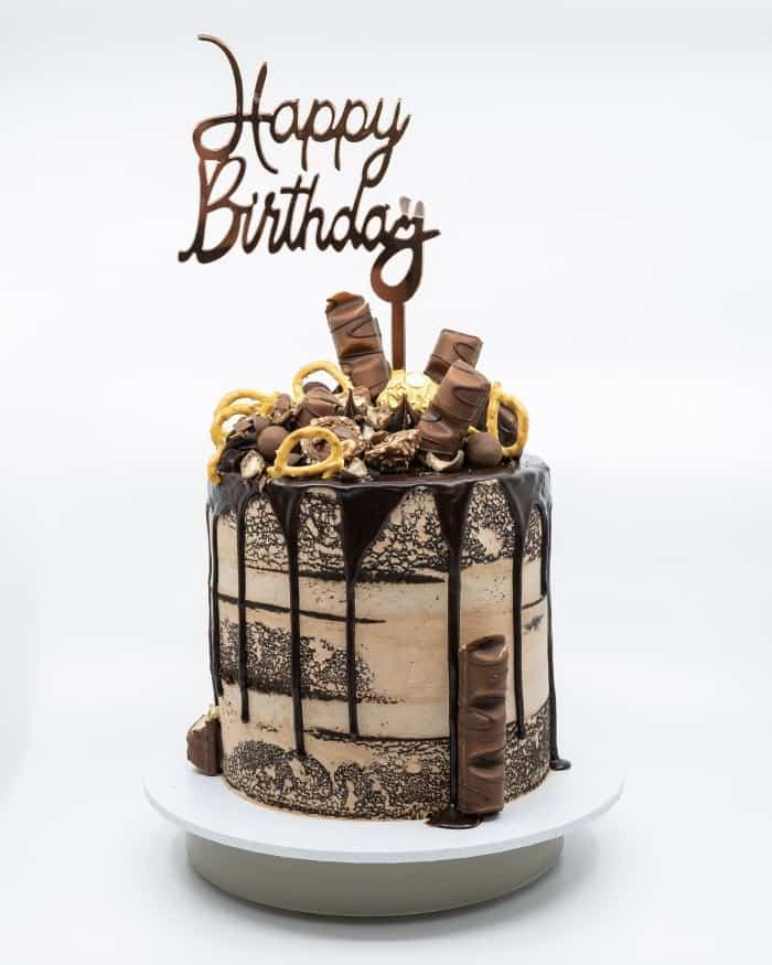 1 tier semi naked chocolate cream cake